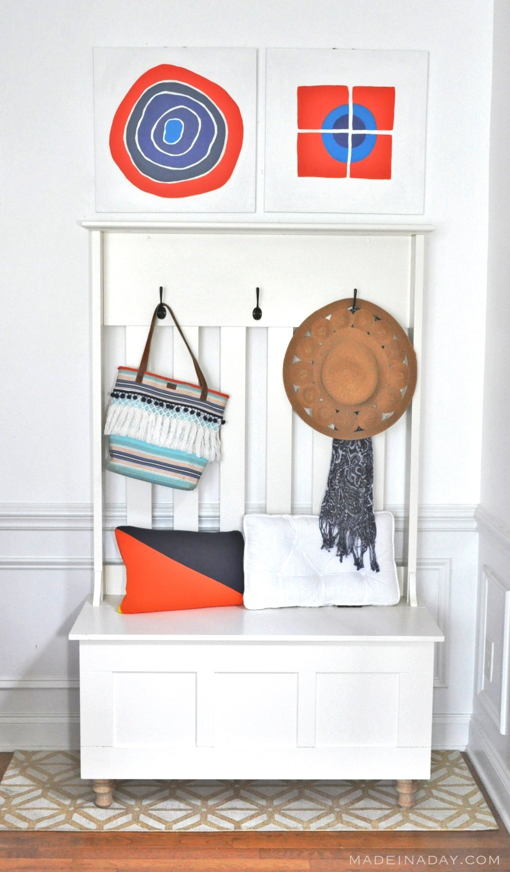 Orange & Navy Wall Art Makeover, See how I perked up these two thrift store canvases for our monthly Thrift Store Upcycle Challenge! Coral, Navy Blue, #Orange, #wallart, teal. See tutorial on madeinaday.com #canvas