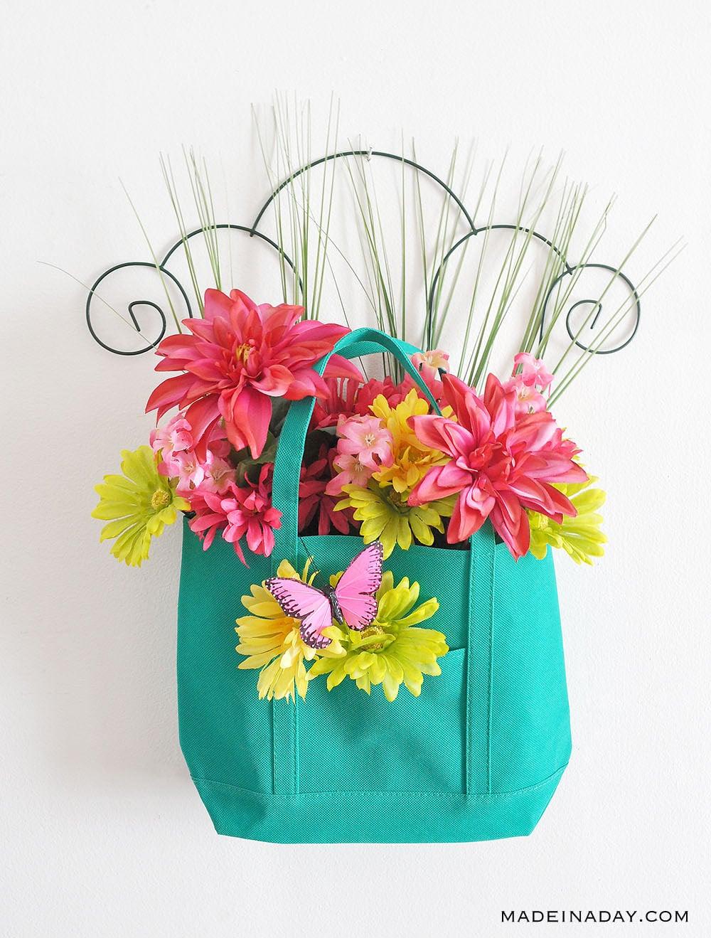 Butterfly Door Hanger, Front Door Basket Arrangement, Spring garden Door hanger, Garden Tote Trellis Wreath, tote door hanger,