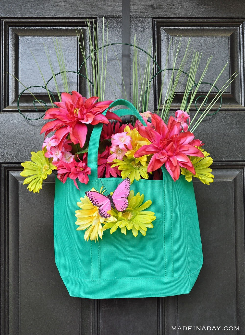 Garden Tote with pockets, Dollar Tree Tote Door Hanger, teal front door wreath, front door hanger, spring door hanger