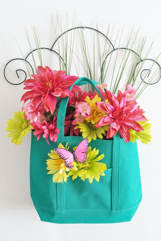 Spring Garden Floral Tote Door Hanger