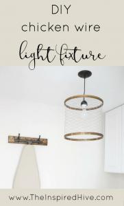 diy rustic chicken wire light fixture