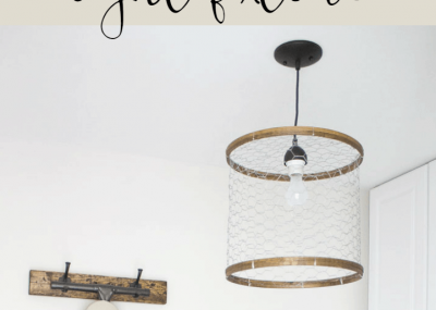 diy rustic chicken wire light fixture