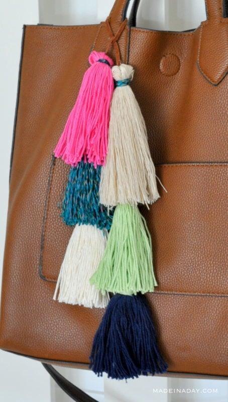 layered tassel bag charms on madeinaday.com