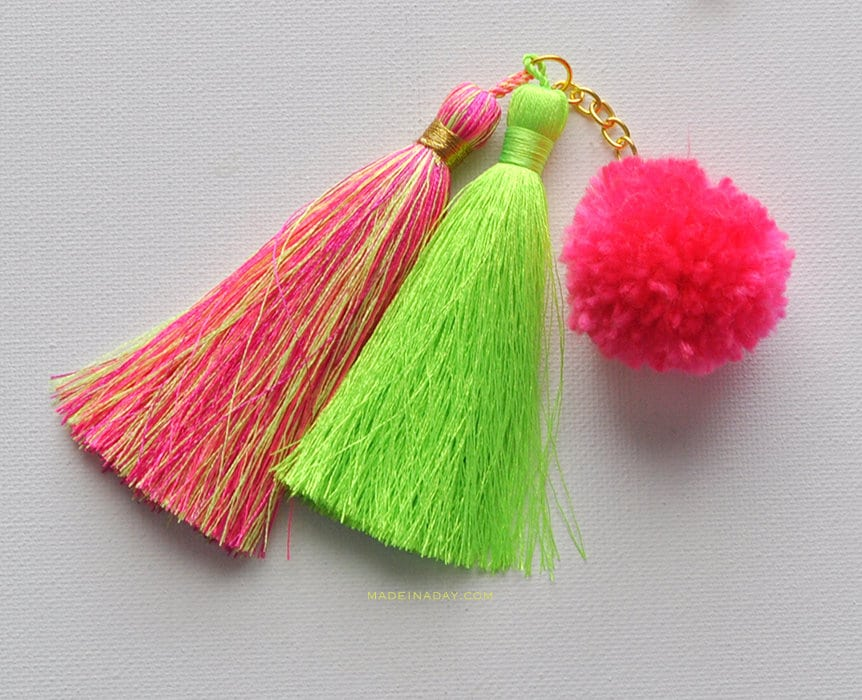 Attach pom to tassel charm