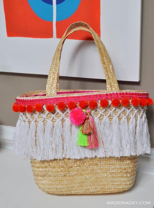 Beach Bag Pom Tassel makeover madeinaday.com