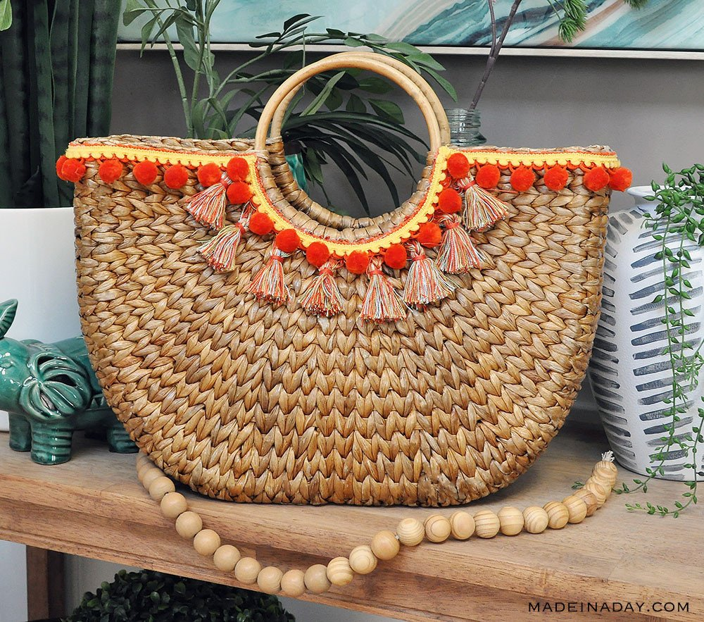 half moon straw beach bag with tassels, pom pom half moon bag,