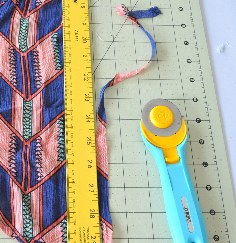 Cut fabric to make tassels