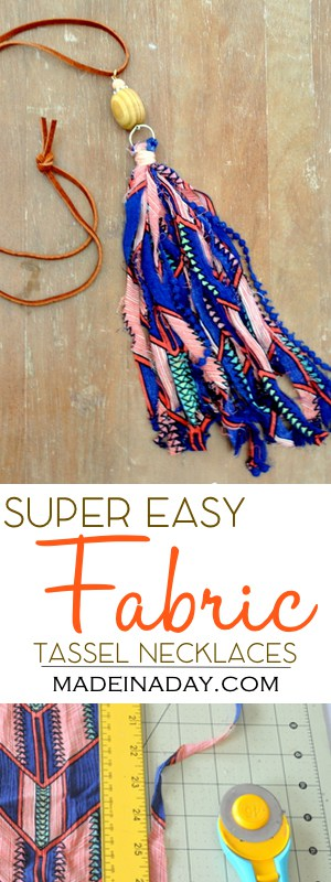 DIY Fabric Tassel Necklaces, fabric & ribbon tassel necklaces, easy jewelry DIY, ribbon tassel, shabby boho tassel, bohemian tassel jewelry, #fabric #necklace #tassel