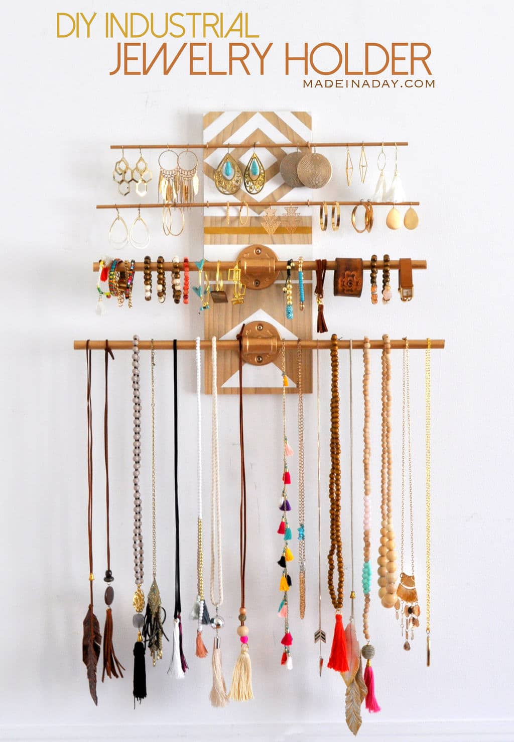 DIY Industrial Jewelry Organizer Rack madeinaday.com