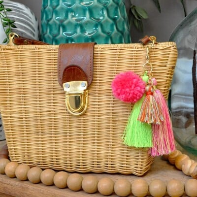 Simple DIY Pom + Tassels Bag Charm
