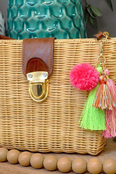 Simple DIY Pom + Tassels Bag Charm