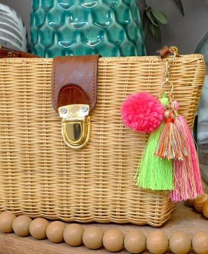 Simple DIY Pom + Tassels Bag Charm 2
