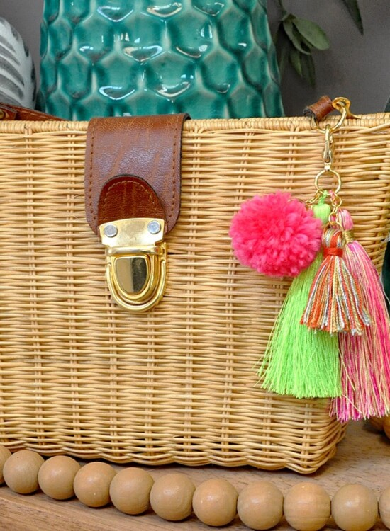 Simple DIY Pom + Tassels Bag Charm 36