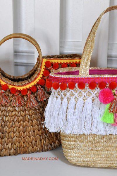Trendy DIY Pom & Tassel Basket Totes