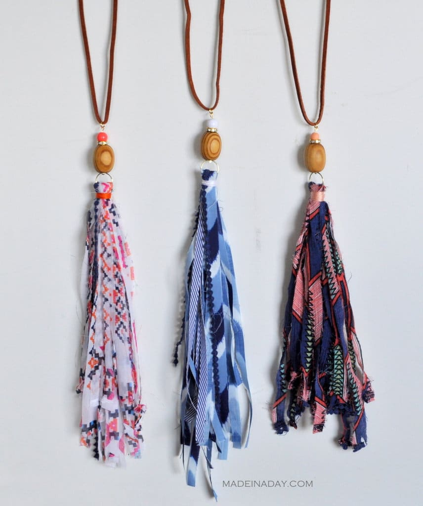 DIY Shabby Boho Fabric Tassel Necklaces madeinaday.com