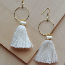 DIY White Tassel Hoop Earrings Tutorial madeinaday.com