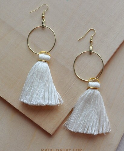 DIY Hoop Tassel Earrings 3