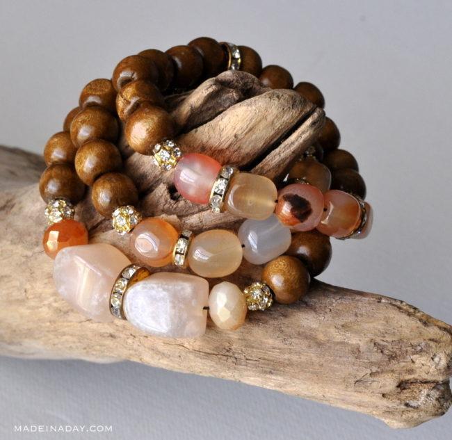 DIY Wood Stone Gold Bracelet Anthro Hack madeinaday.com