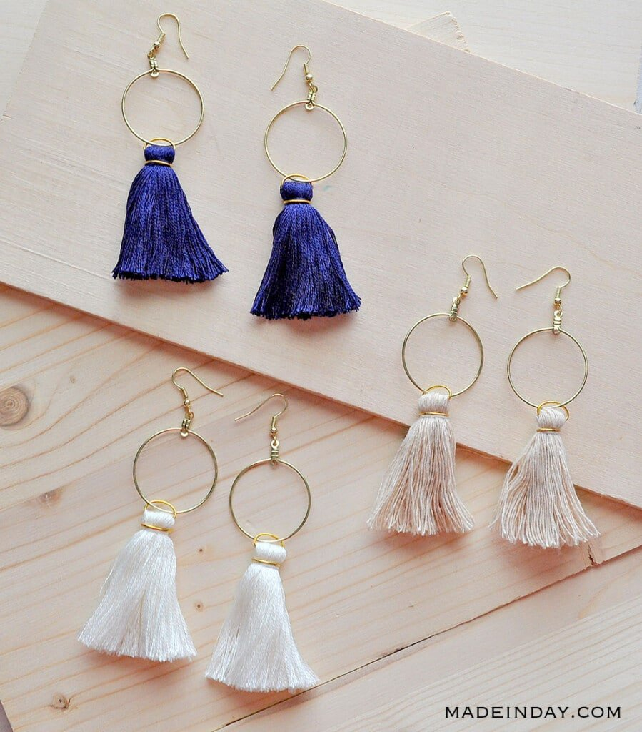DIY Hoop Tassel Earrings, navy blue tassel earrings, cream tassel hoop earrings, white tassel hoop earrings