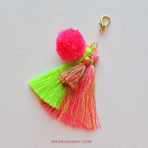 Easy Pom Tassel Bag Charm madeinaday.com