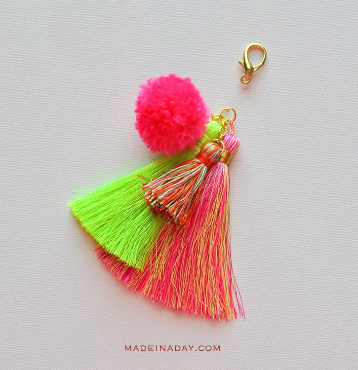 Easy Pom Tassel Bag Charm madeinaday.com