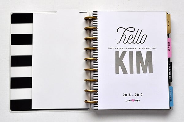 Happy Planner Hello My name is page