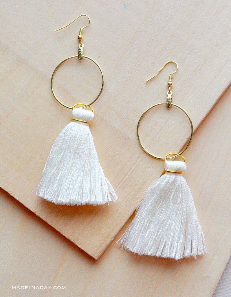 white tassel earrings, white tassel gold hoop earrings