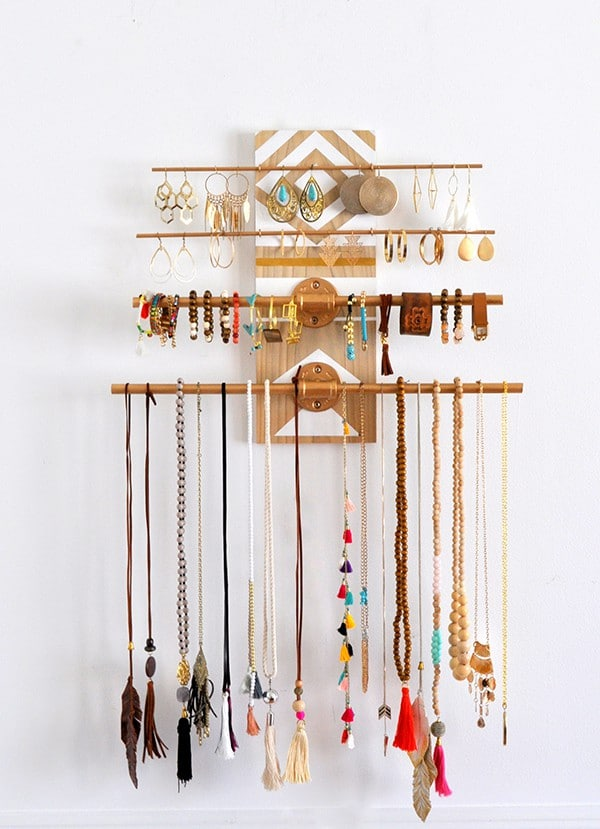 DIY Geometric Industrial Wall Jewelry Organizer Made in a Day
