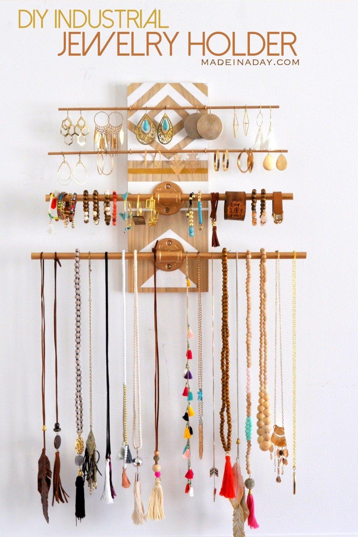 DIY Geometric Wall Jewelry Organizer