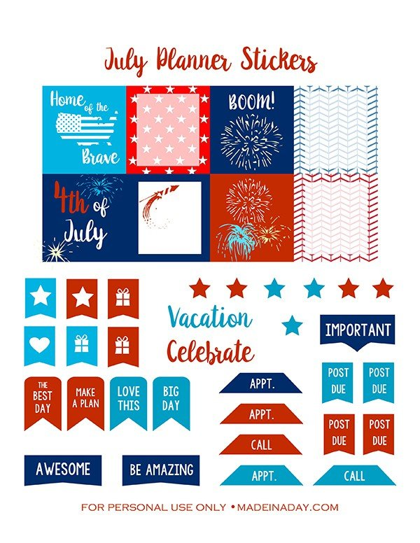 July Planner Red White Blue Printables madeinaday.com