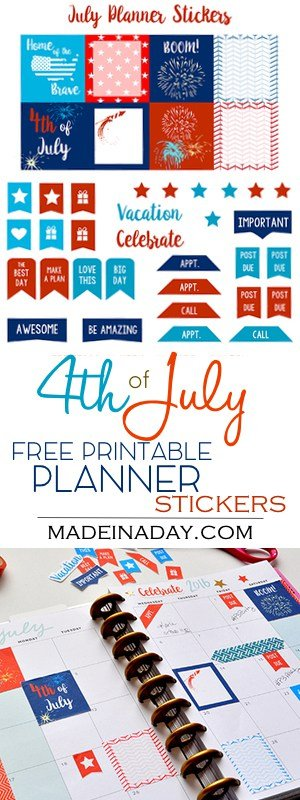 Come see why I love my new Happy Planner + Free July Red White & Blue planner stickers, printable stickers, patriotic planner stickers, teal, stars, pretty planner, scrapbook stickers, tutorial on madeinaday.com