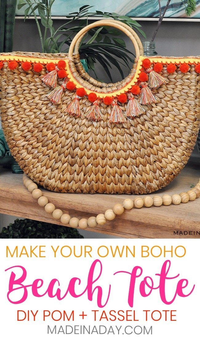 Design Trend: Make Your Own Pom & Tassel Basket Totes, tassel beach bag, Bohemian tote, boho bag, tassel bag, pom pom, tassel bag charms, basket totes, basket beach bag, half moon basket tote, wicker totes, diy basket bag, pom pom basket tote, #beachtote #pompom #boho #Beachbag #tassel