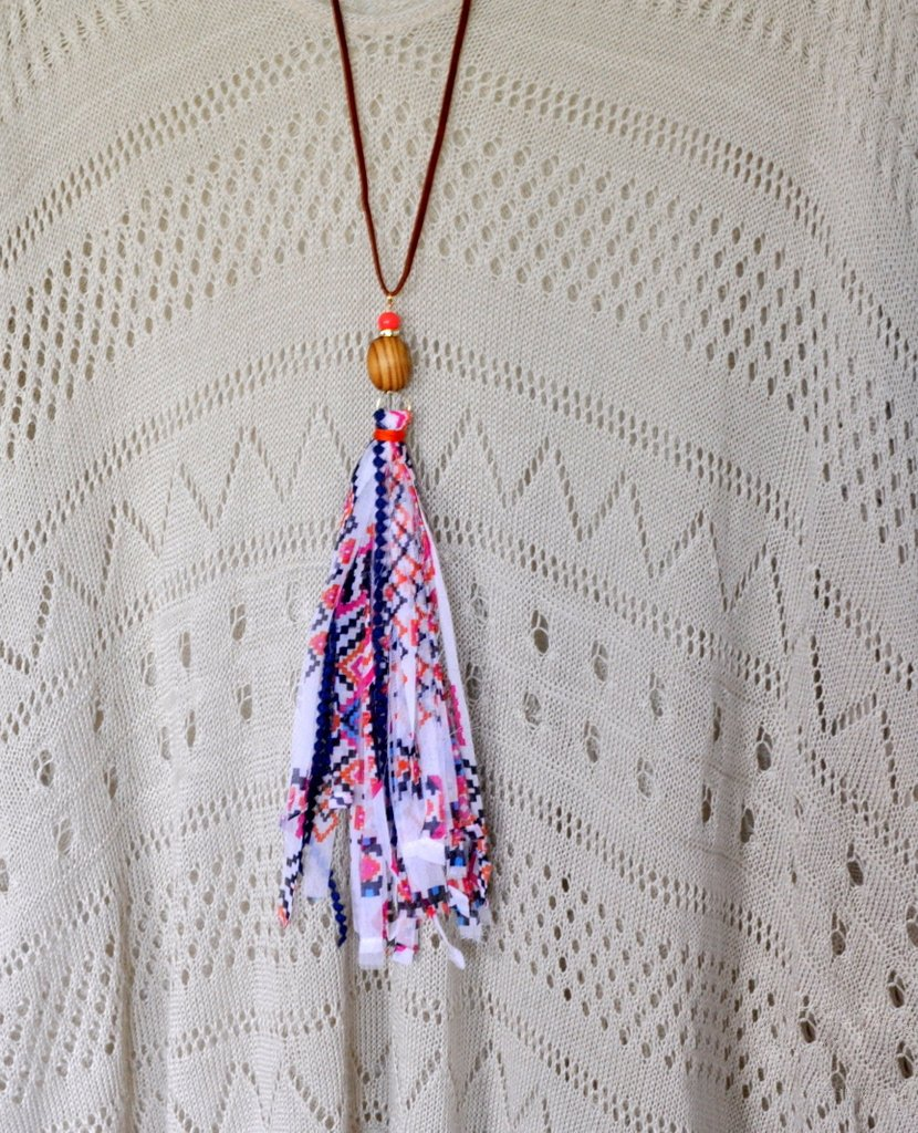 Navajo Print White Tassel Necklace madeinaday.com