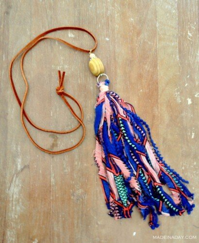 How to make Fabric Tassel Necklaces 6