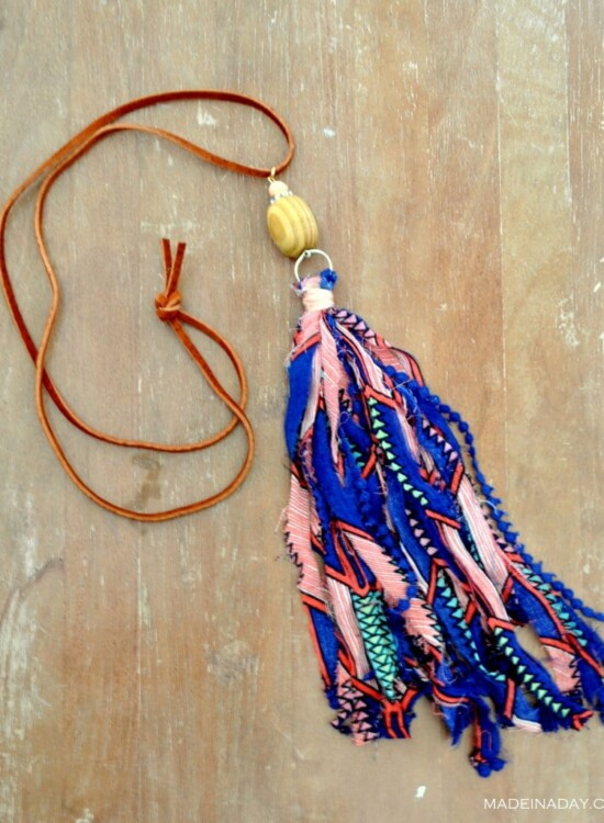 How to make Fabric Tassel Necklaces 38