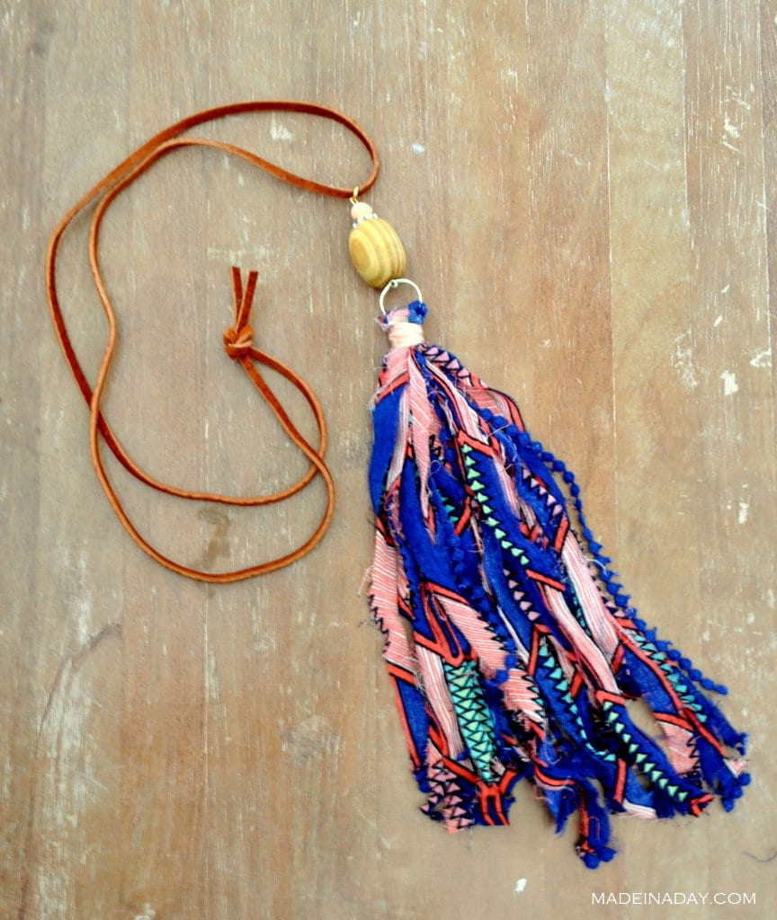 Navy Peach Fabric Ribbon Tassel Necklace madeinaday.com