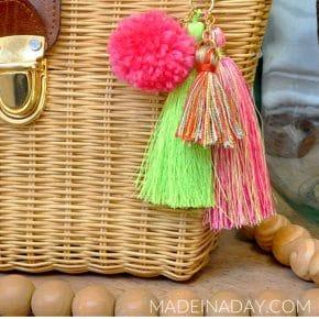 Simple DIY Pom + Tassels Bag Charm 31
