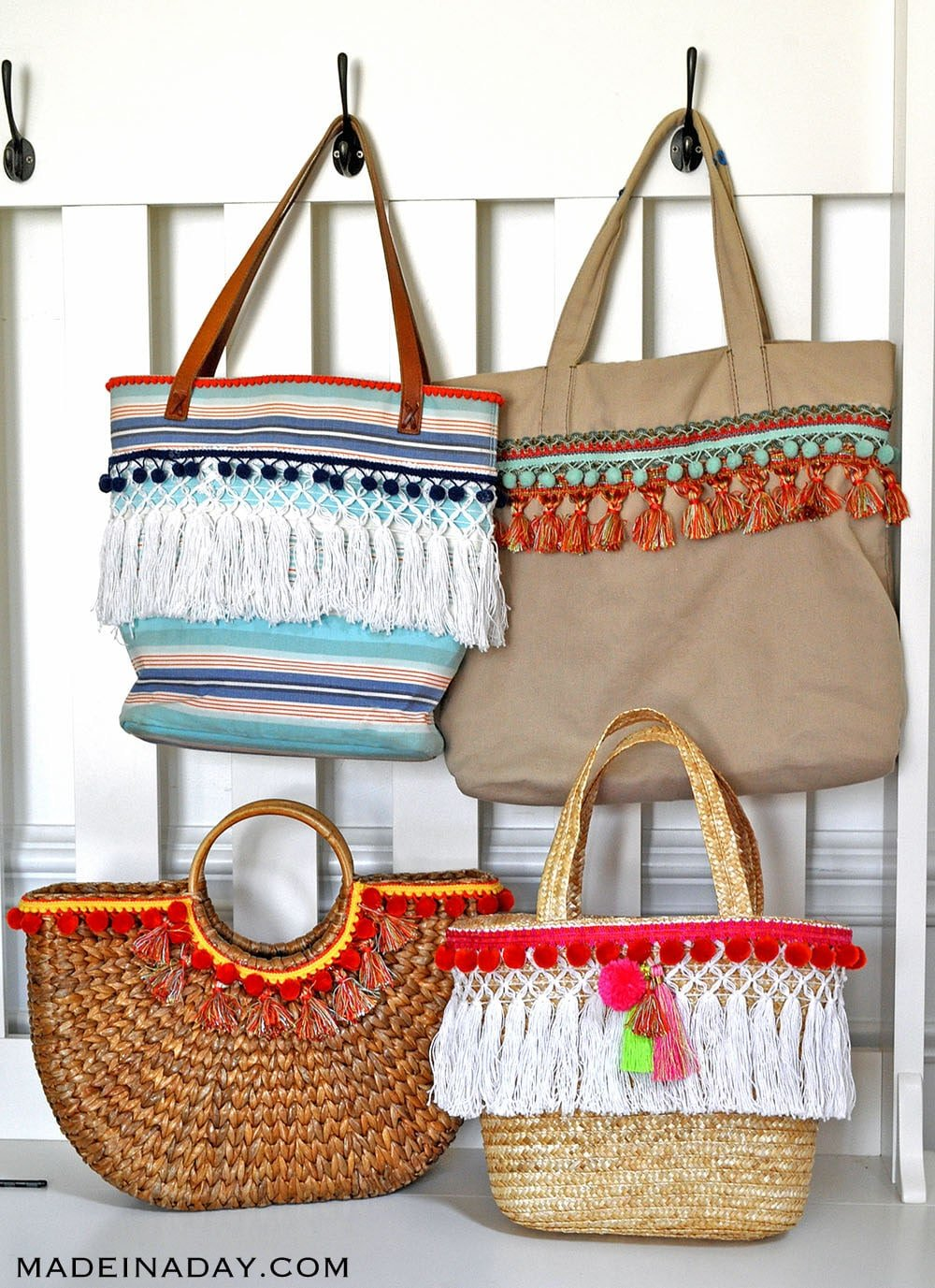 diy beach bags, cute beach totes, trendy totes, add tassel trim totes