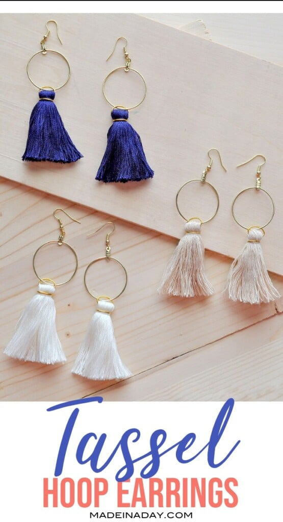 how to make tassel earrings, hoop earrings with tassels