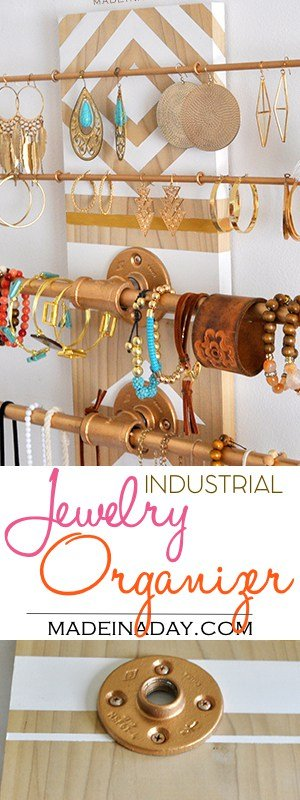 DIY Geometric Industrial Wall Jewelry Organizer.Have a lot of jewelry? I do and I made this super fun industrial trend jewelry holder you hang on your wall! Industrial trend organizer, geometric wall art, accessories holder, flange pipe wall art organizer, See the tutorial on madeinaday.com #homedecor #geometric #industrial #jewelry