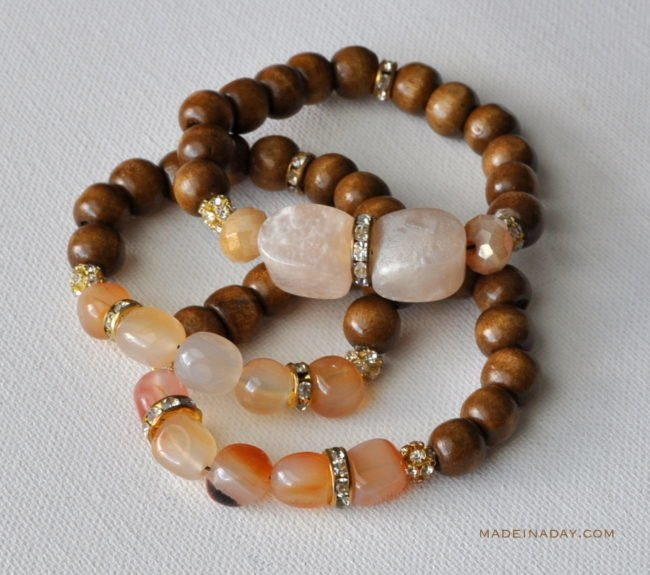 Wood Stone Gold Glass Bead Bracelet madeinaday.com