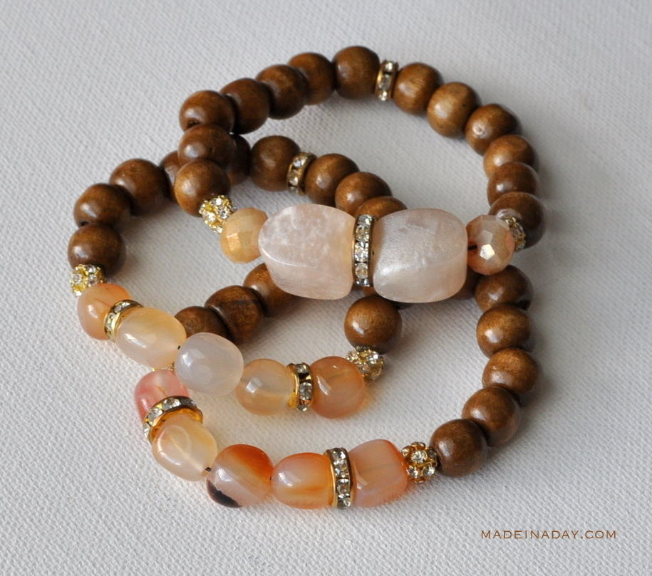 Wood Stone Gold Gl Bead Bracelet Madeinaday