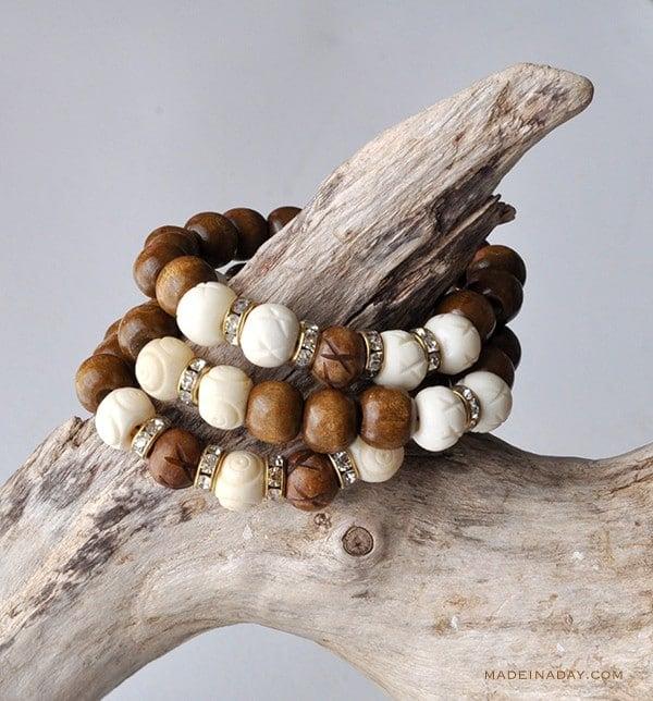 Wood White Bone Beaded Bracelet Tutorial madeinaday.com