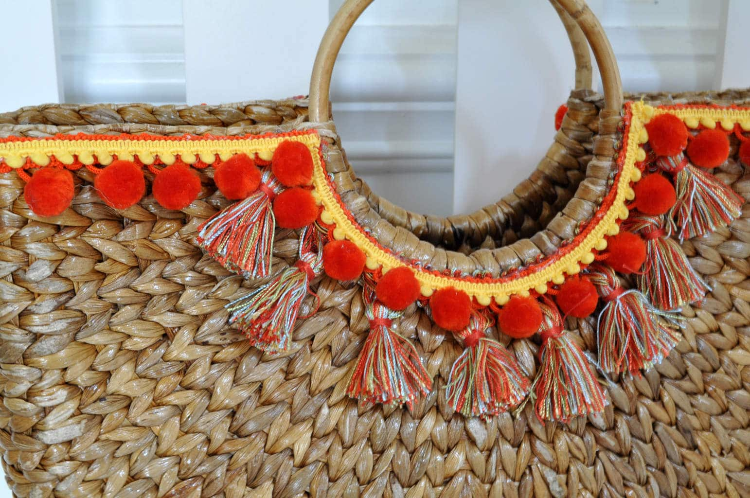 Yellow orange tassel beach bag