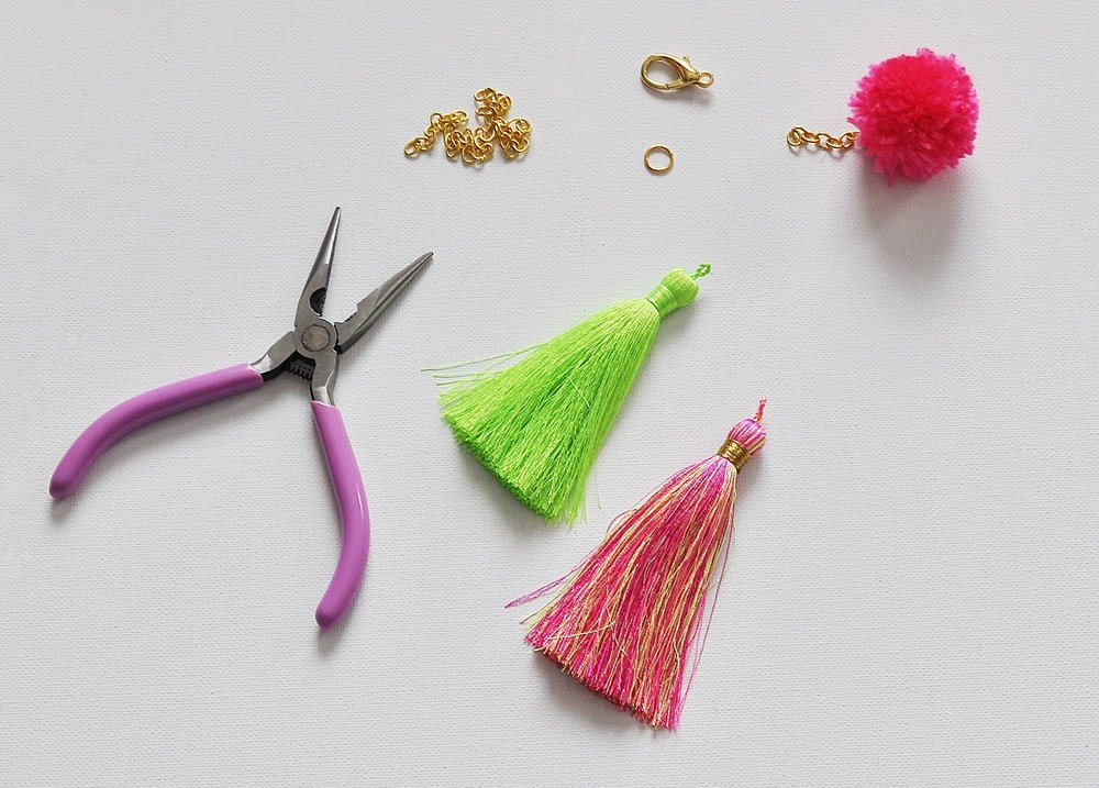 Simple DIY Pom + Tassels Bag Charm 32