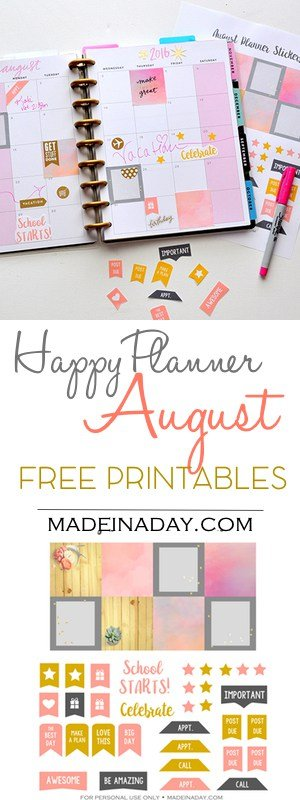 graphic regarding Free Planner Sticker Printables identify August Absolutely free Printable Planner Stickers Created within a Working day