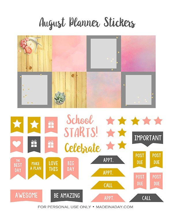 August Pink Gold Grey Planner Stickers madeinaday.com