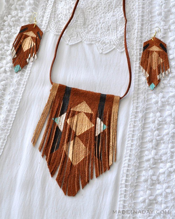 BOHO Painted Suede Leather Fringe Necklace Earrings madeinaday.com