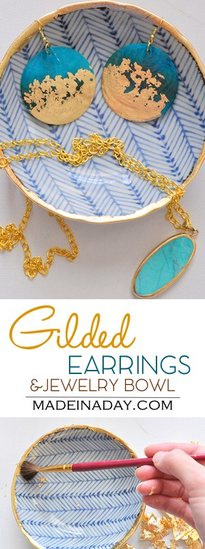 DIY Gold Gilded Earrings &  Jewelry Bowl, Glam up some inexpensive earrings & a thrift store bowl with gold gilding! Herringbone, gold teal earrings, gilded stone, how to add gold gild, tutorial on madeinaday.com