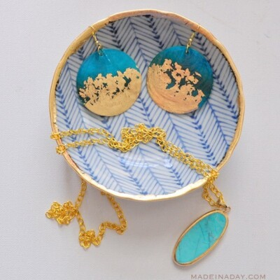 DIY Gold Gilded Earrings and Jewelry Bowl
